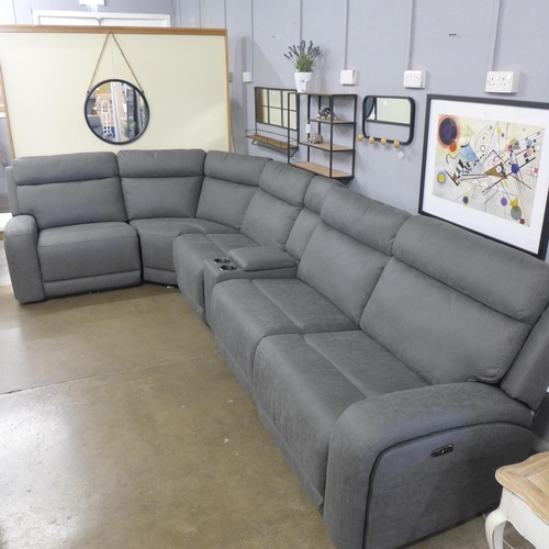 1309 - A Justin grey fabric reclining sectional sofa (4054-19) RRP £1541.66 + VAT * this lot is subject to ...