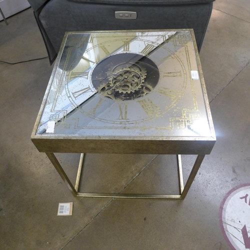 1316 - A square mirrored clock table with moving gears mechanism (1868553)   #...
