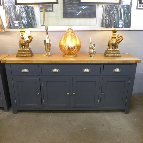 1325 - A Hampshire blue painted oak extra large four door sideboard (KEL P58-73) * this lot is subject to V...
