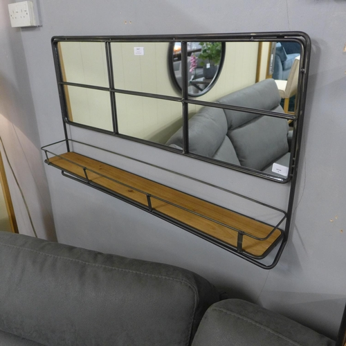 1467 - An industrial metal wall mirror with shelf, H55cms x W94cms (RFB3339)   #...