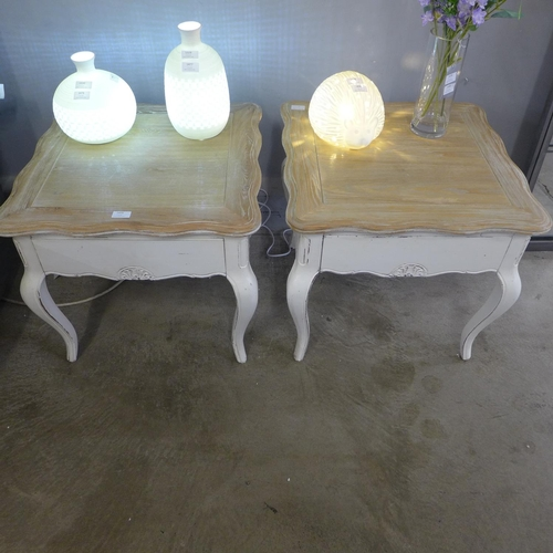1475 - A pair of French style single drawer lamp tables...