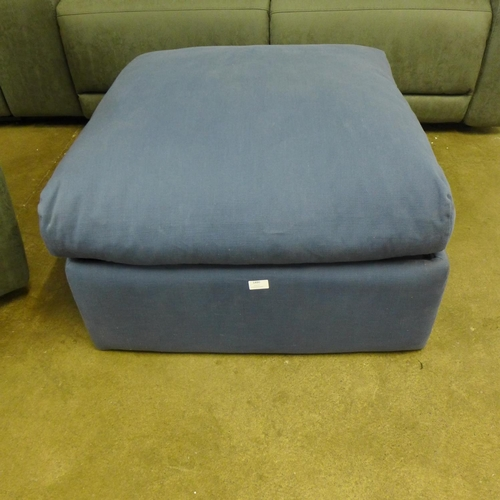 1490 - A blue upholstered Loaf footstool/ottoman (marked)...
