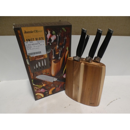 3022 - Jamie Oliver Acacia Knife Block Set (one knife missing) (220-127) * This lot is subject to VAT...