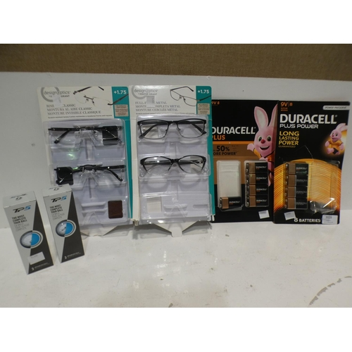 3028 - Duracell Plus 9V Batteries, Taylormade Golf Balls and FGX Metal Mix Reading Glasses (all incomplete ...