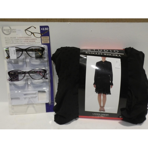3058 - Badgley Mischka Dress and FGX Lady's Reading Glasses   (220-95, 105) * This lot is subject to VAT...