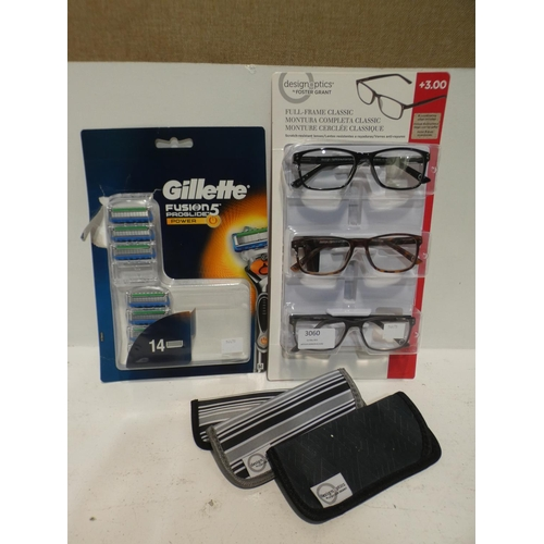3060 - Gillette Proglide Power Razors and Reading Glasses  (220-286) * This lot is subject to VAT...