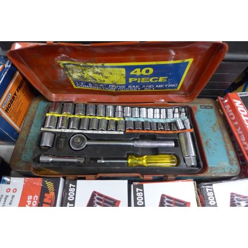 2027 - Black plastic tool box containing sockets with 3 socket sets in metal cases...