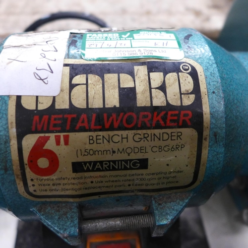 2035 - Clarke metalwork bench grinder - W with Nutool angle grinder - W...