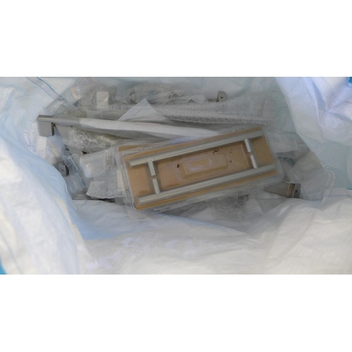 2051 - Wooden tool box with mitre saw & bag of approx. 25 unused chrome handles...