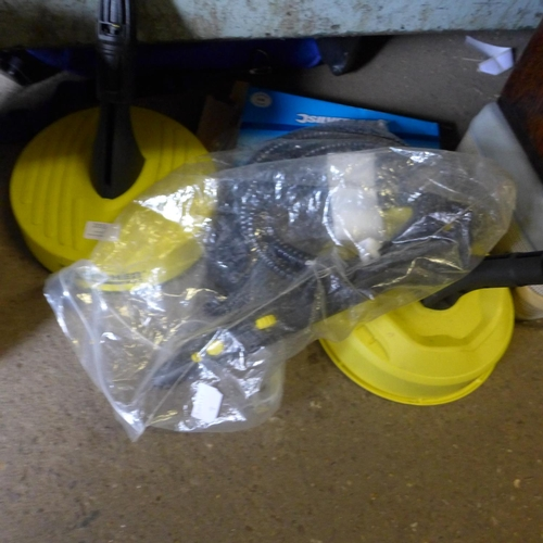 2055 - Two Karcher patio cleaners and a Karcher Steam hose...