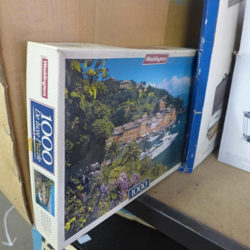 2072 - 2 Boxes of jigsaws & Gibson's puzzle board, boxed...