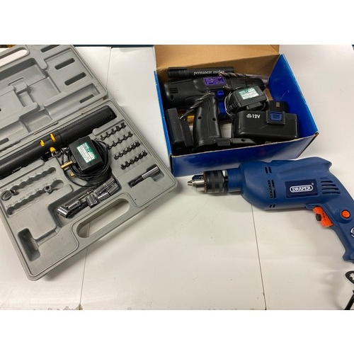 2034 - Draper hammer drill, electric screwdriver & Nutool cordless drill - all boxed...