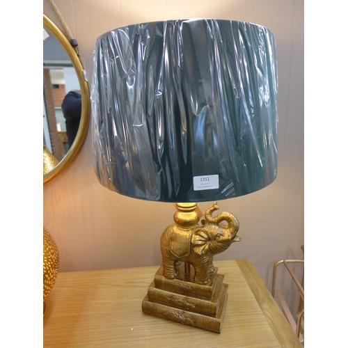 1306 - A gilt elephant sculptured table lamp with emerald velvet shade, height 62cm (2023928)   #