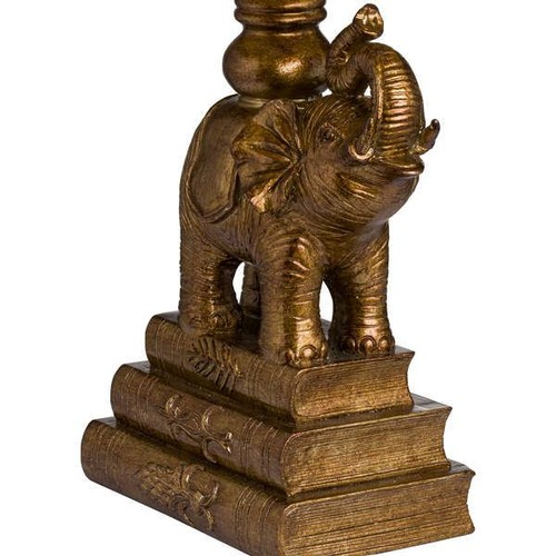 1307 - A gilt elephant sculptured table lamp with emerald velvet shade, height 62cm (2023928)   #