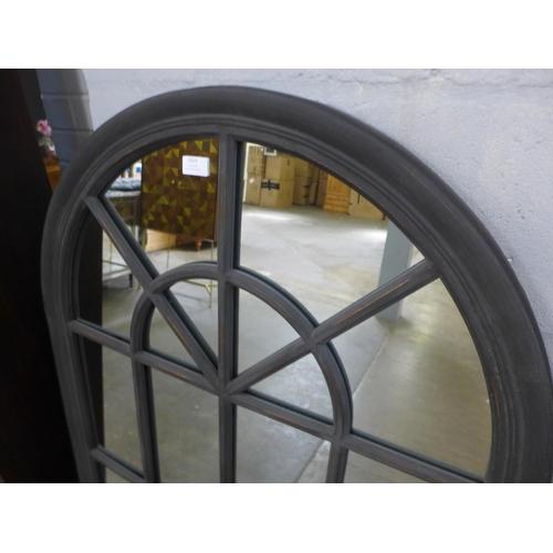 1313 - A large rustic black arched window mirror, H140cms x W80cms (M40172)   #