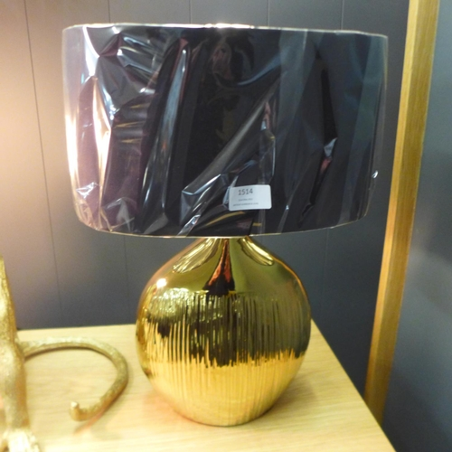 1326 - A Gemini gold etched lamp with black faux silk shade, 45cms (3048722)   #