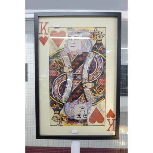1334 - A framed and glazed King playing card collage print, 90 x 60cms (MP13747)   #
