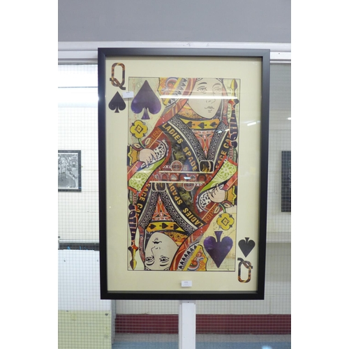 1335 - A framed and glazed Queen playing card collage print, 90 x 60cms (MP13847)   #