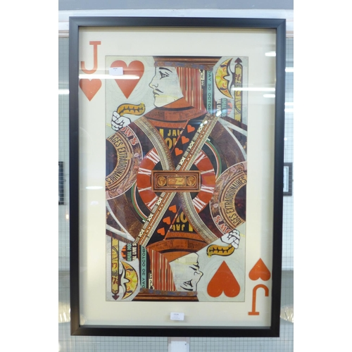 1336 - A framed and glazed Jack playing card collage print, 90 x 60cms (MP13747)   #