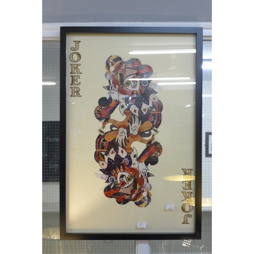 1337 - A framed and glazed Joker playing card collage print, 90 x 60cms (MP13747)   #