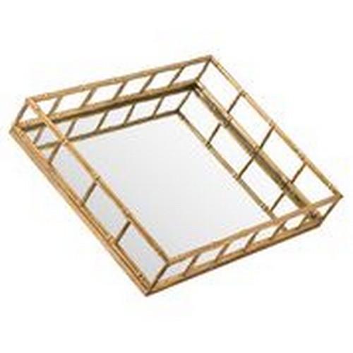 1350 - A medium rectangular mirrored bamboo effect tray, 42cm x 32cm (2080111)   #