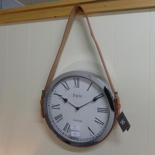 1389 - A Paris round wall clock with leather belt strap, 33cm x 57cm (CL184112)   #
