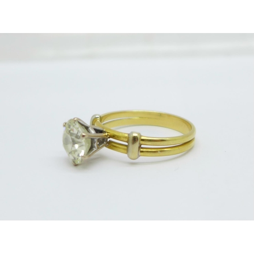 1059 - A solitaire diamond ring, approximately 3.3carat weight, set in yellow metal
