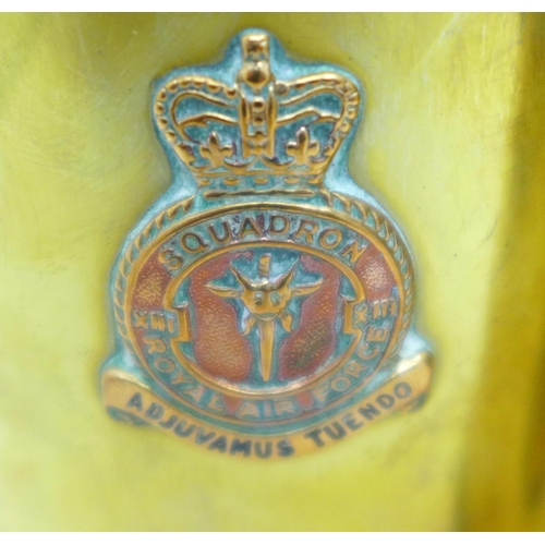 607 - Two RAF squadron brass shell cases, 18cm