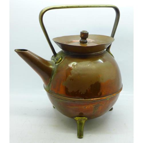 613 - A Christopher Dresser Benham & Froud copper kettle
