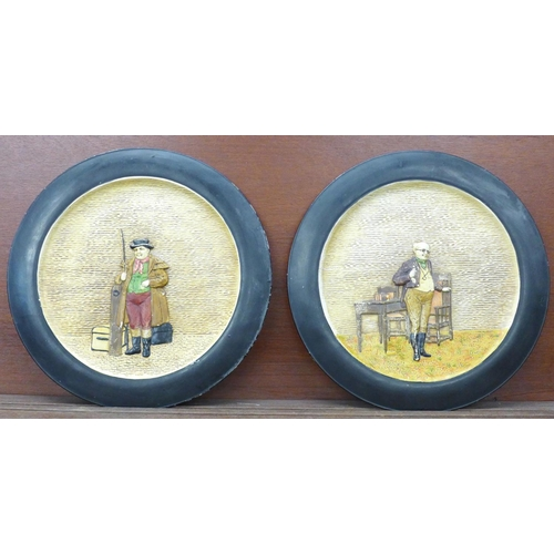 616 - A pair of large Bretby Dickens plaques, 37.5cm