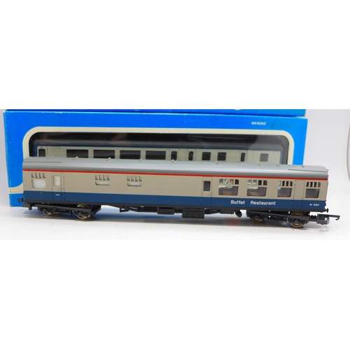 625 - Three Airfix System 00 scale 'Inter City' coaches, boxed and a Lima coach