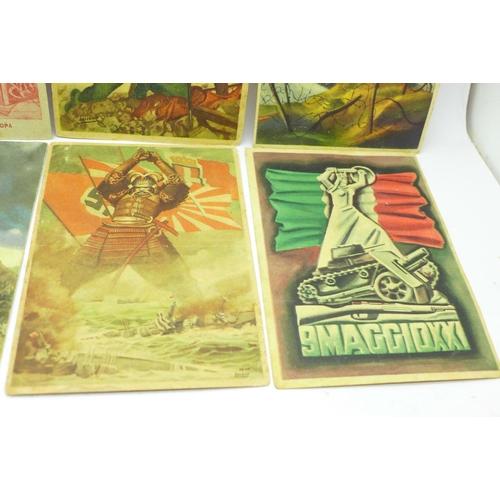 634 - Eight WWII Italian propaganda postcards