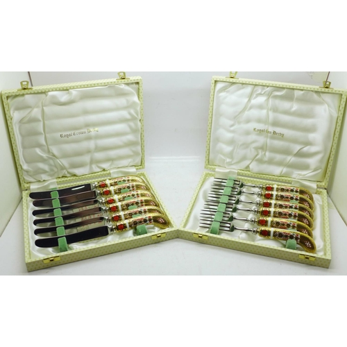 635 - Two cased sets of Royal Crown Derby Imari pastry knives and forks, two fork handles a/f
