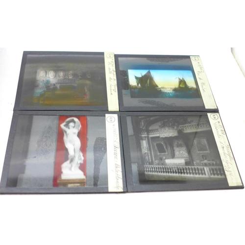 636 - Three boxes of French magic lantern slides, (30)