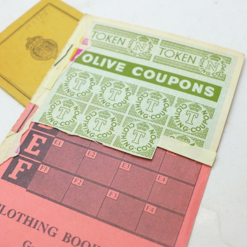638 - Ration books (petrol, clothes, food) and a 1955 driving license