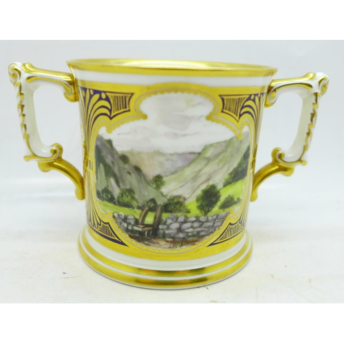 640 - A small Royal Crown Derby Dovedale and Mill Dale mug, signed J McLaughlin