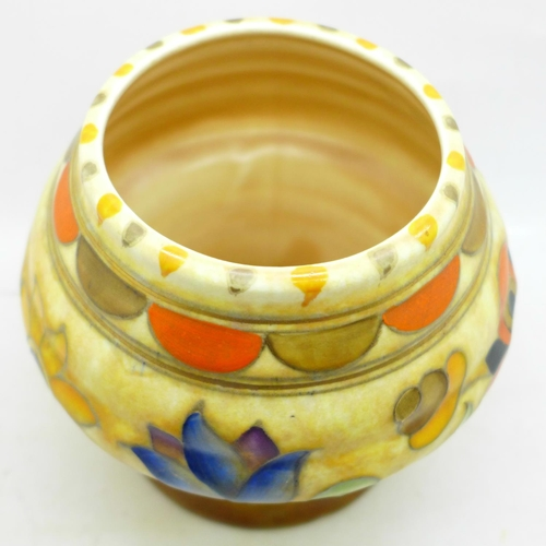 647 - A Charlotte Rhead Mexican Ware patterned vase for Crown Ducal
