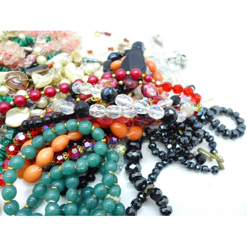 651 - Gemstone and glass bead necklaces