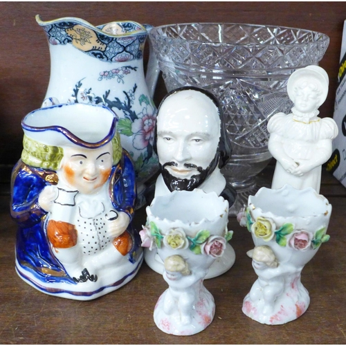 A glass vase, a Toby jug, one other jug, ceramic bust of Shakespeare, etc.