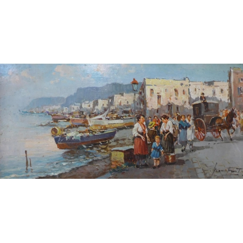 1 - Italian School (20th Century), figures in a harbour, oil on board, indistinctly signed, 18 x 38cms, ...