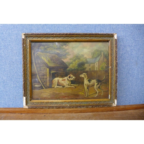 10 - English School (late 19th/early 20th Century),  two dogs in a yard, oil on board, 22 x 29cms, framed