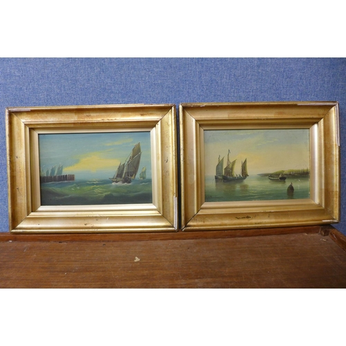 11 - Edward King Redmore (1869 - 1941), shipping off the coast, pair of oil on boards, 14 x 22cms, framed