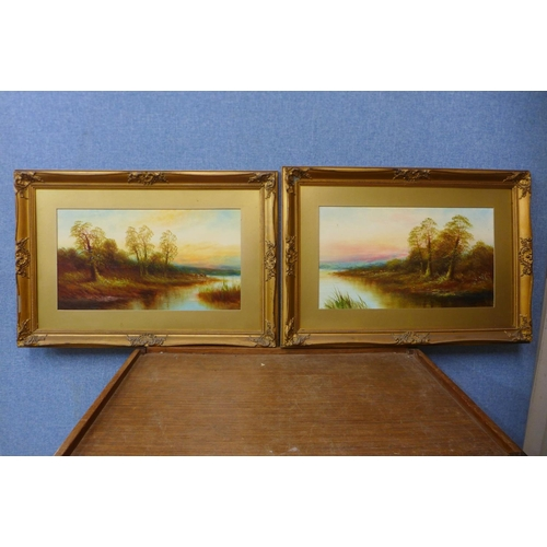 12 - English School (early 20th Century ), pair of landscapes, oil on board, 25 x 45cms, framed