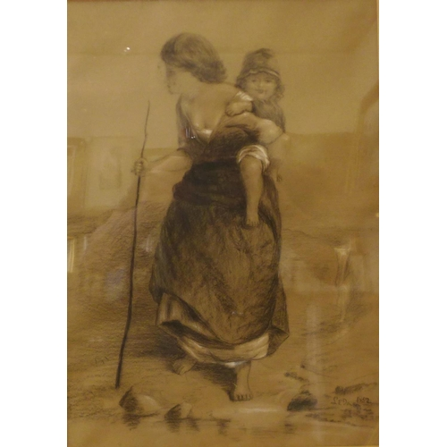 16 - Italian School, pencil drawing of a gypsy woman and child, indistinctly signed, 43 x 30cms, framed