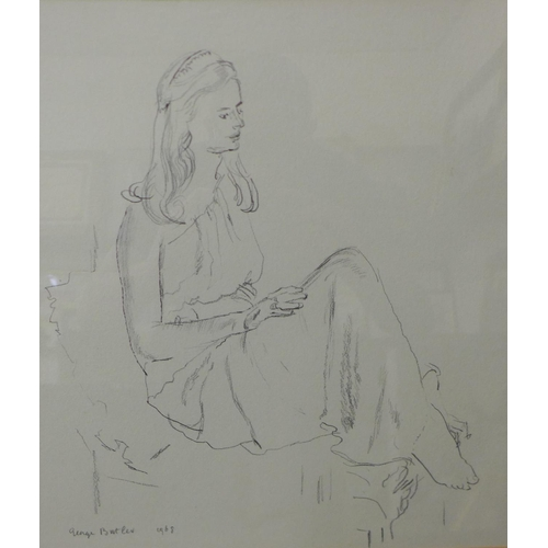 17 - George Butler (1904 - 1999), study of a seated female, pencil sketch, 37 x 33cms, framed