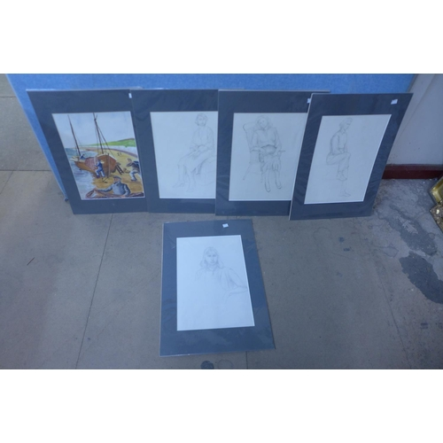 17a - English School, six portraits of ladies, pencil sketches, 41 x 29cms, unframed and one other