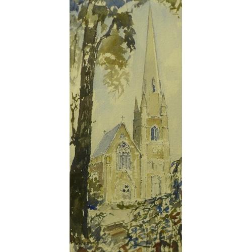 18 - Alston Emery (1913-1993), Keele Church, watercolour, 41 x 19cms, framed