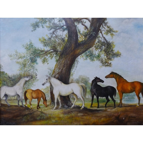 19 - J. Tucker, two landscapes with horses, oil on canvas, 45 x 60cms and 39 x 49cms, framed