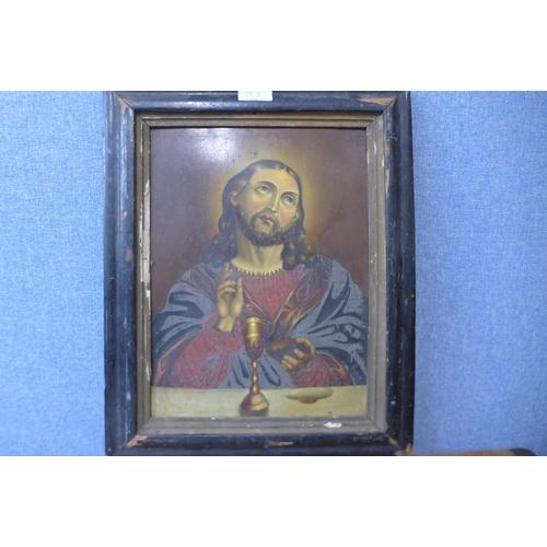 19A - Italian School, portrait of Jesus, oil on tin, 33 x 25cms, framed