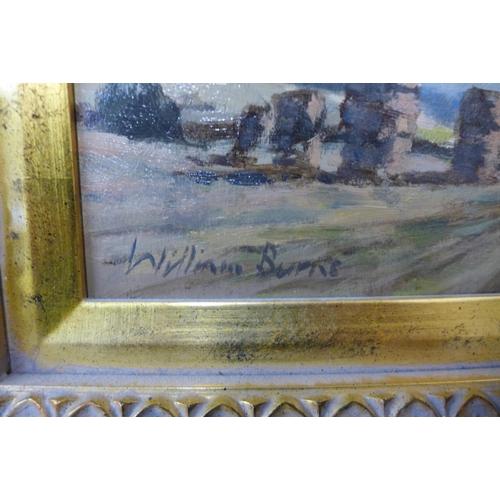 2 - William Burns (1923 - 2010), Hay Bales Nr. Zennor, Cornwall, oil on board, 19 x 24cms, framed